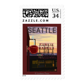 SeattlePike Place Market Sign and Water View Stamp