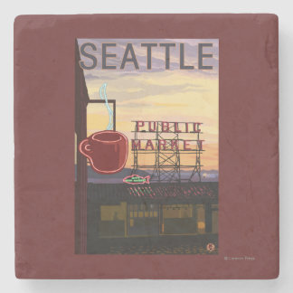 SeattlePike Place Market Sign and Water View Stone Coaster
