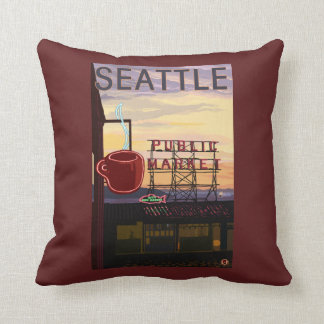 SeattlePike Place Market Sign and Water View Throw Pillow