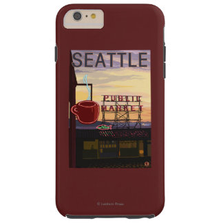 SeattlePike Place Market Sign and Water View Tough iPhone 6 Plus Case