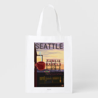 SeattlePike Place Market Sign and Water View Grocery Bags