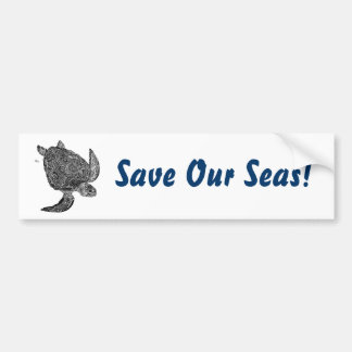 ¡SeaTurtle ahorra nuestros mares Pegatina para e Etiqueta De Parachoque