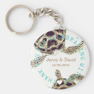 Seaturtle Love Personalized Wedding Favor Basic Round Button Keychain
