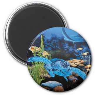 Seaturtle - ocean life 2 inch round magnet