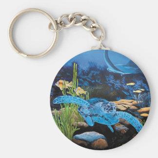 Seaturtle - ocean life basic round button keychain