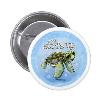 Seaturtle surfer boy button