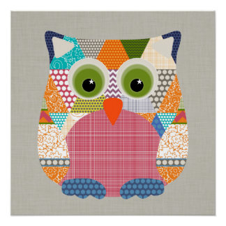 seaview beauty triangles owl poster