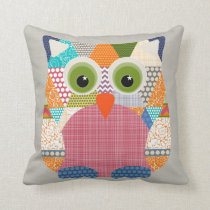 seaview beauty triangles owl throw pillow