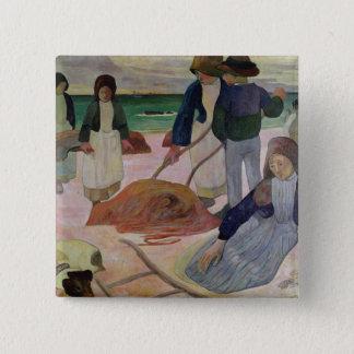 Seaweed Gatherers, 1889 Pinback Button