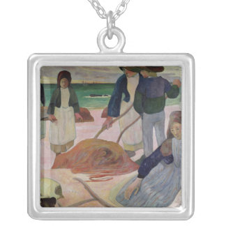 Seaweed Gatherers, 1889 Silver Plated Necklace