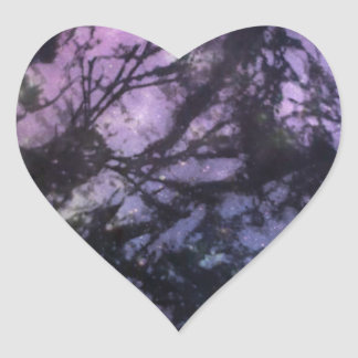 Seaweed Monoprint (Night Sky) Heart Sticker
