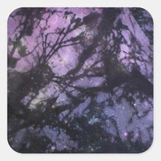 Seaweed Monoprint (Night Sky) Square Stickers