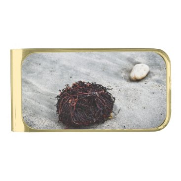 Beach Themed Seaweed Roots Gold Finish Money Clip