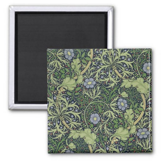Seaweed Wallpaper Design, printed by John Henry De 2 Inch Square Magnet