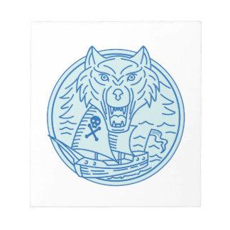 Seawolf Pirate Ship Circle Mono Line Notepad