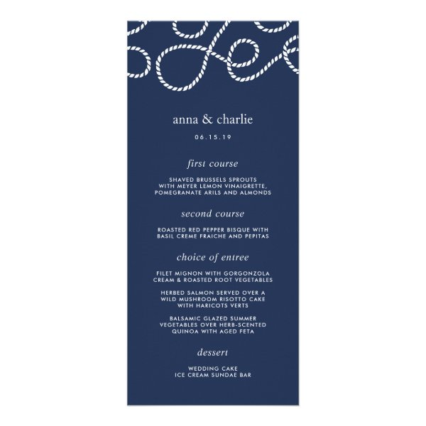 Seaworthy Wedding Menu Card | Navy