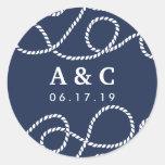 Seaworthy Wedding Monogram Stickers | Navy