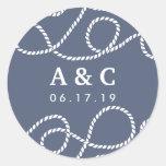 Seaworthy Wedding Monogram Stickers | Slate