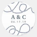 Seaworthy Wedding Monogram Stickers | White