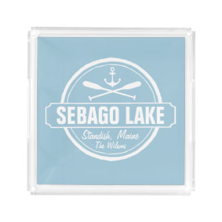 SEBAGO LAKE MAINE PERSONALIZED TOWN AND NAME ACRYLIC TRAY