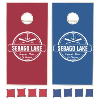 SEBAGO LAKE MAINE PERSONALIZED TOWN AND NAME CORNHOLE SET