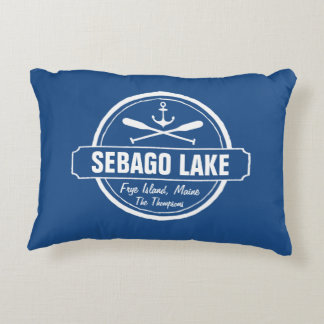 SEBAGO LAKE MAINE PERSONALIZED TOWN AND NAME DECORATIVE PILLOW
