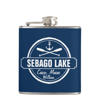 SEBAGO LAKE MAINE PERSONALIZED TOWN AND NAME FLASK