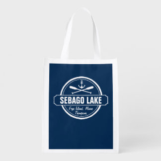 Sebago Lake Maine Personalized Town and Name Grocery Bag