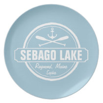 SEBAGO LAKE MAINE PERSONALIZED TOWN AND NAME MELAMINE PLATE