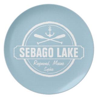 SEBAGO LAKE MAINE PERSONALIZED TOWN AND NAME MELAMINE PLATE