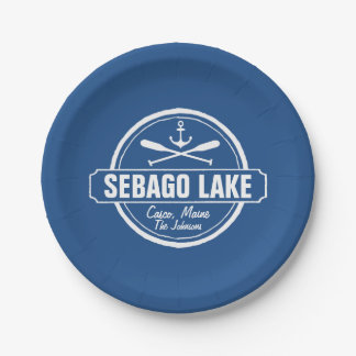 SEBAGO LAKE MAINE PERSONALIZED TOWN AND NAME PAPER PLATE