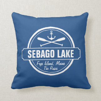 SEBAGO LAKE MAINE PERSONALIZED TOWN AND NAME THROW PILLOW