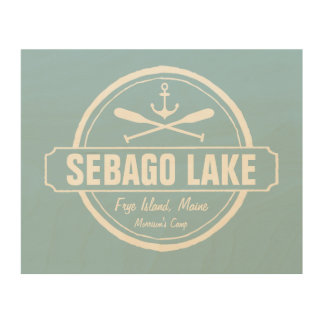 Sebago Lake Maine Personalized Town and Name Wood Wall Art