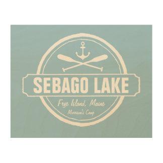 Sebago Lake Maine Personalized Town and Name Wood Wall Art