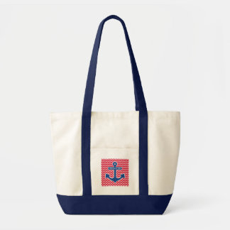 Sebago Lake Nautical Blue Anchor Canvas Tote
