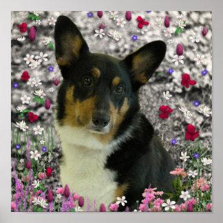 Sebastian el Corgi Galés en flores Poster