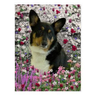Sebastian el Corgi Galés en flores Postal