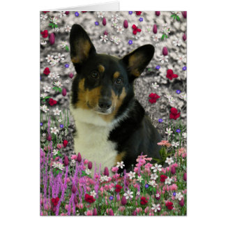 Sebastian el Corgi Galés en flores Tarjeta De Felicitación