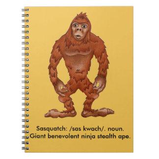 Sebastian sasquach, bigfoot yeti notebooks