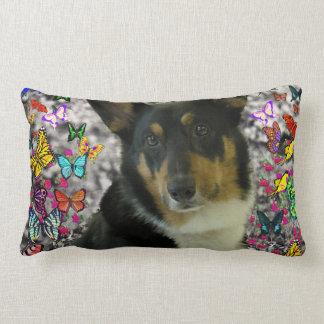 Sebastian the Welsh Corgi in Butterflies Throw Pillows