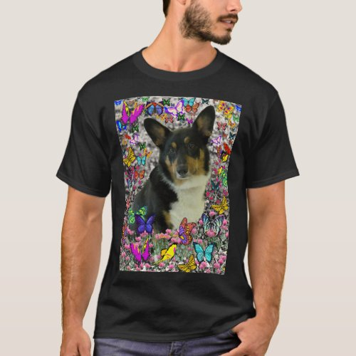 Sebastian the Welsh Corgi in Butterflies T-Shirt