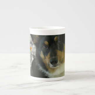 Sebastian the Welsh Corgi in Butterflies Tea Cup