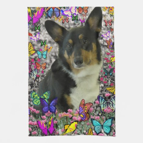 Sebastian the Welsh Corgi in Butterflies Towel