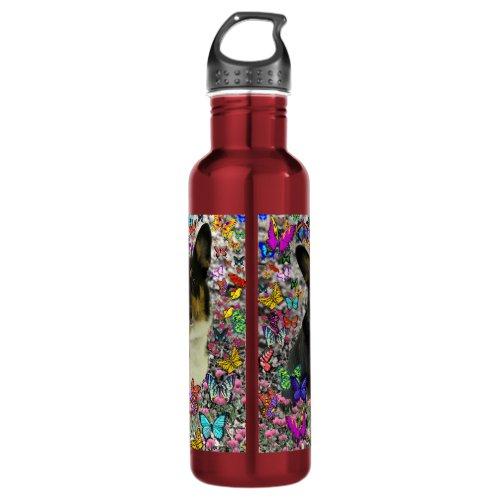 Sebastian the Welsh Corgi in Butterflies Water Bottle