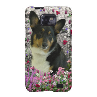 Sebastian the Welsh Corgi in Flowers Samsung Galaxy SII Cases
