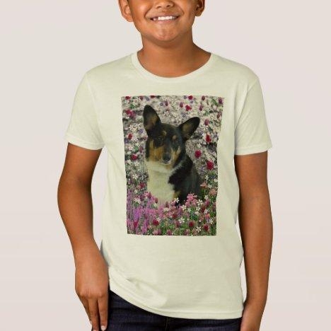 Sebastian the Welsh Corgi in Flowers T-Shirt