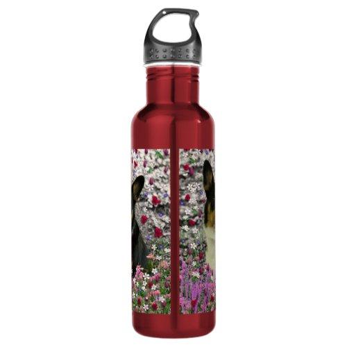 Sebastian the Welsh Corgi in Flowers Water Bottle