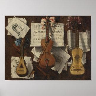 Sebastiano Lazzari Trompe - notas del violín y de  Posters