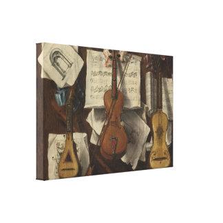 Sebastiano Lazzari Trompe - Violin and Music Notes Canvas Print
