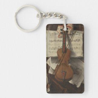 Sebastiano Lazzari Trompe - Violin and Music Notes Keychain